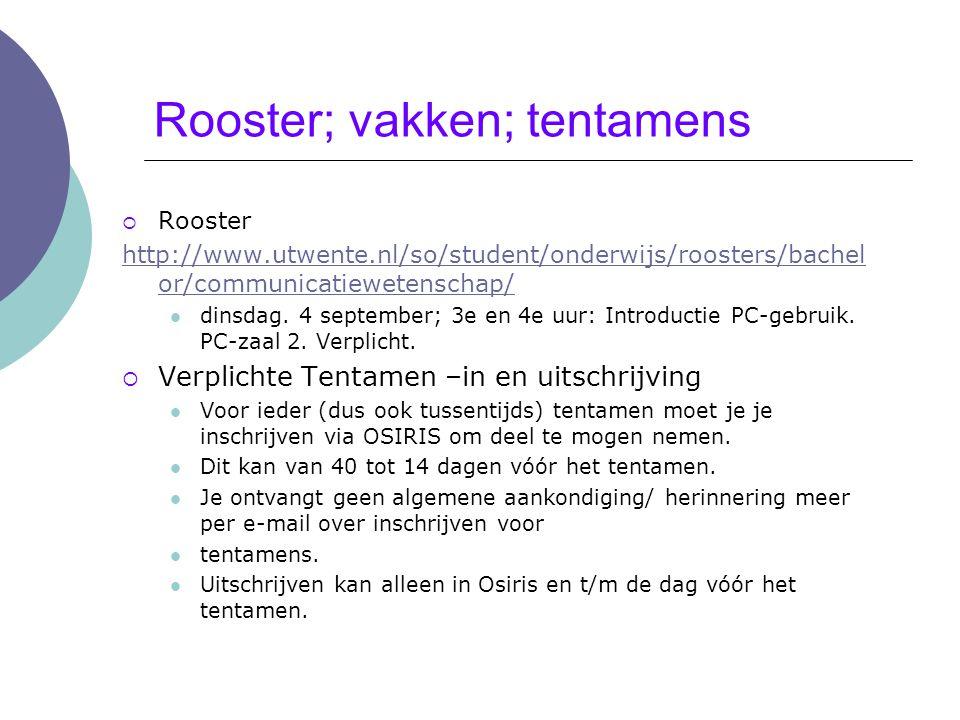 Rooster; vakken; tentamens