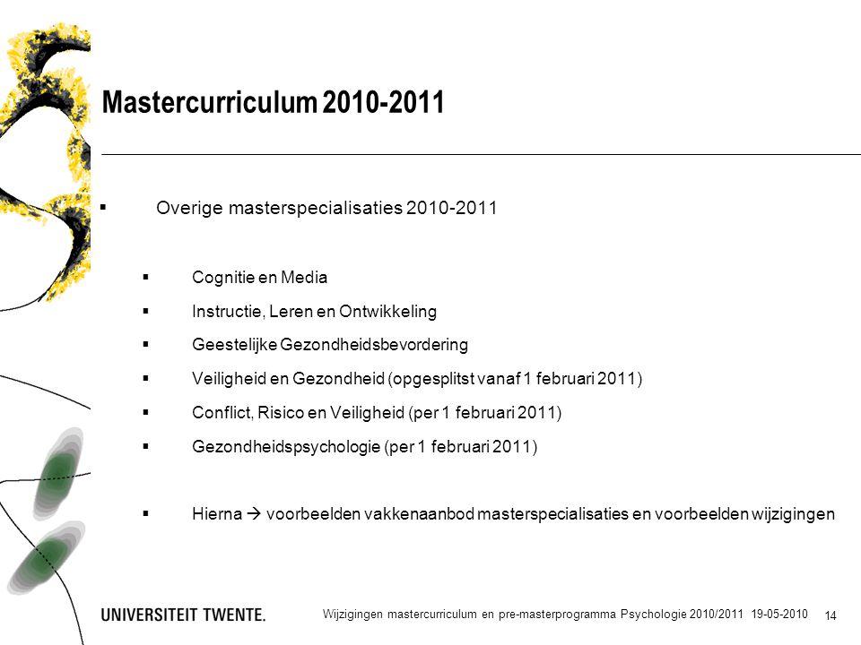 Mastercurriculum 2010-2011 Overige masterspecialisaties 2010-2011