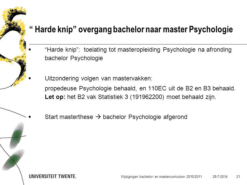Harde knip overgang bachelor naar master Psychologie