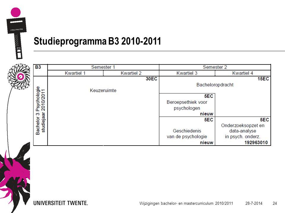 Studieprogramma B3 2010-2011 Wijzigingen bachelor- en mastercurriculum 2010/2011 4-4-2017 24