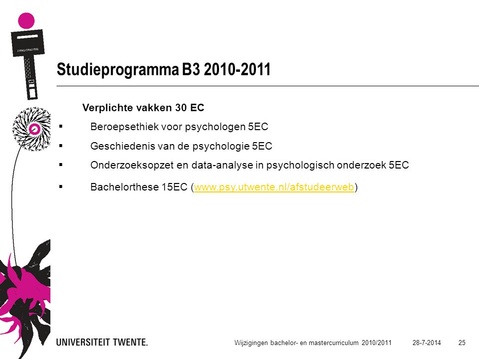 Studieprogramma B3 2010-2011 Verplichte vakken 30 EC