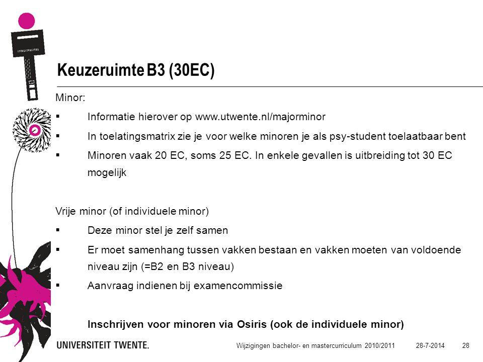 Keuzeruimte B3 (30EC) Minor: