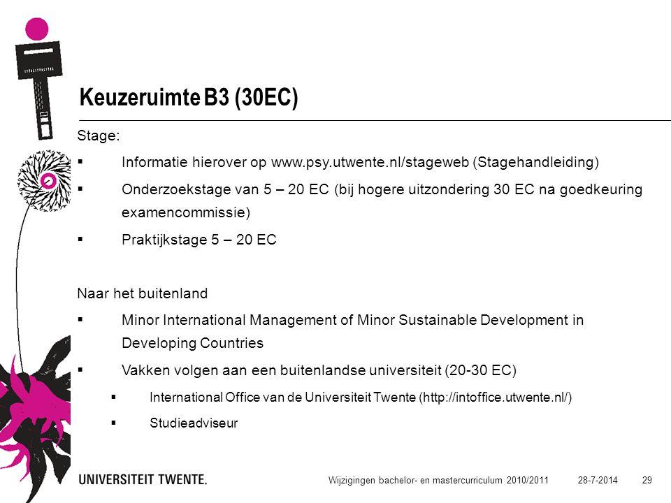 Keuzeruimte B3 (30EC) Stage: