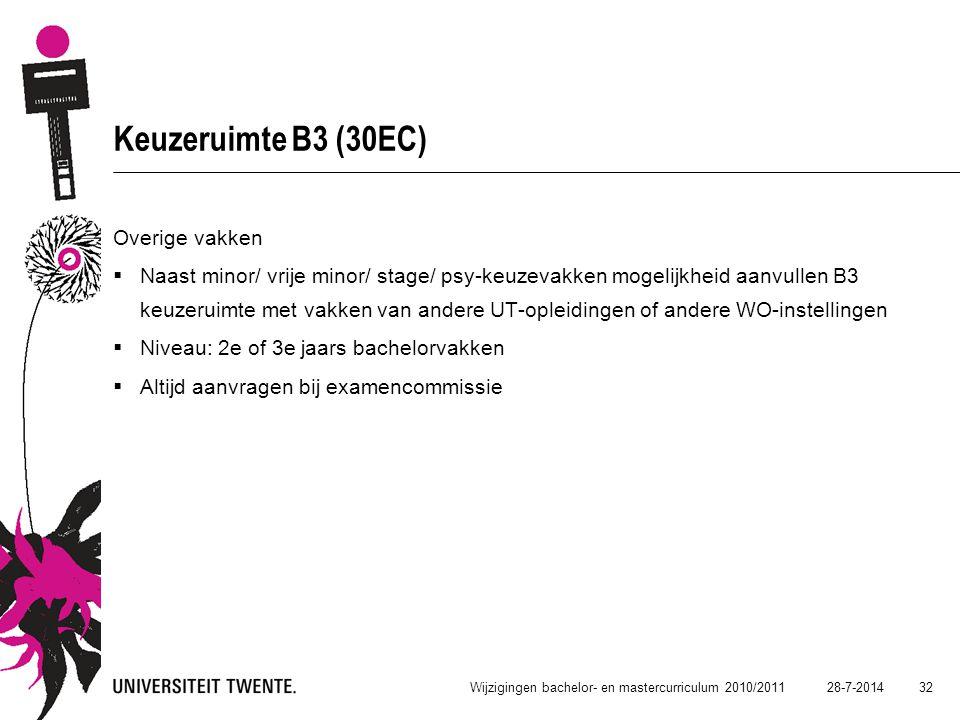 Keuzeruimte B3 (30EC) Overige vakken