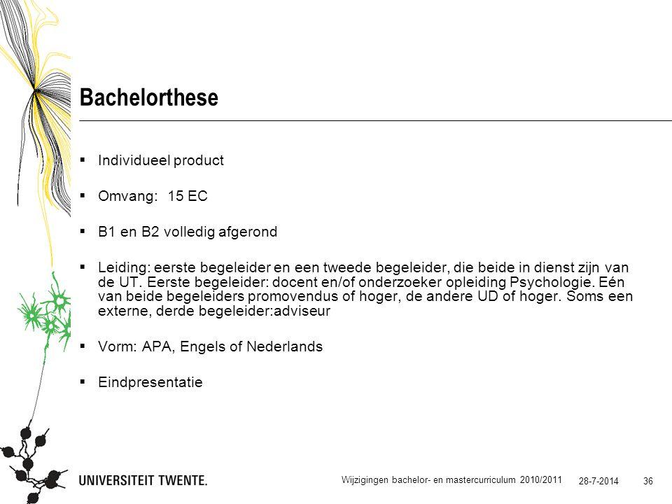 Bachelorthese Individueel product Omvang: 15 EC