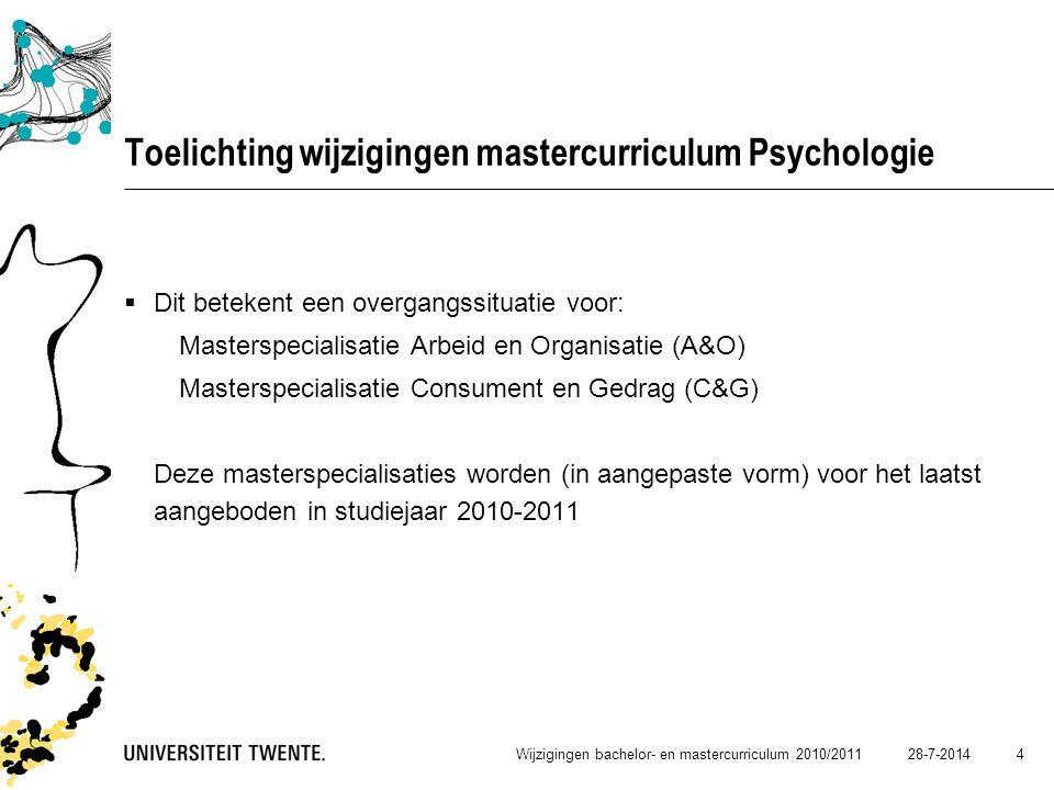 Toelichting wijzigingen mastercurriculum Psychologie