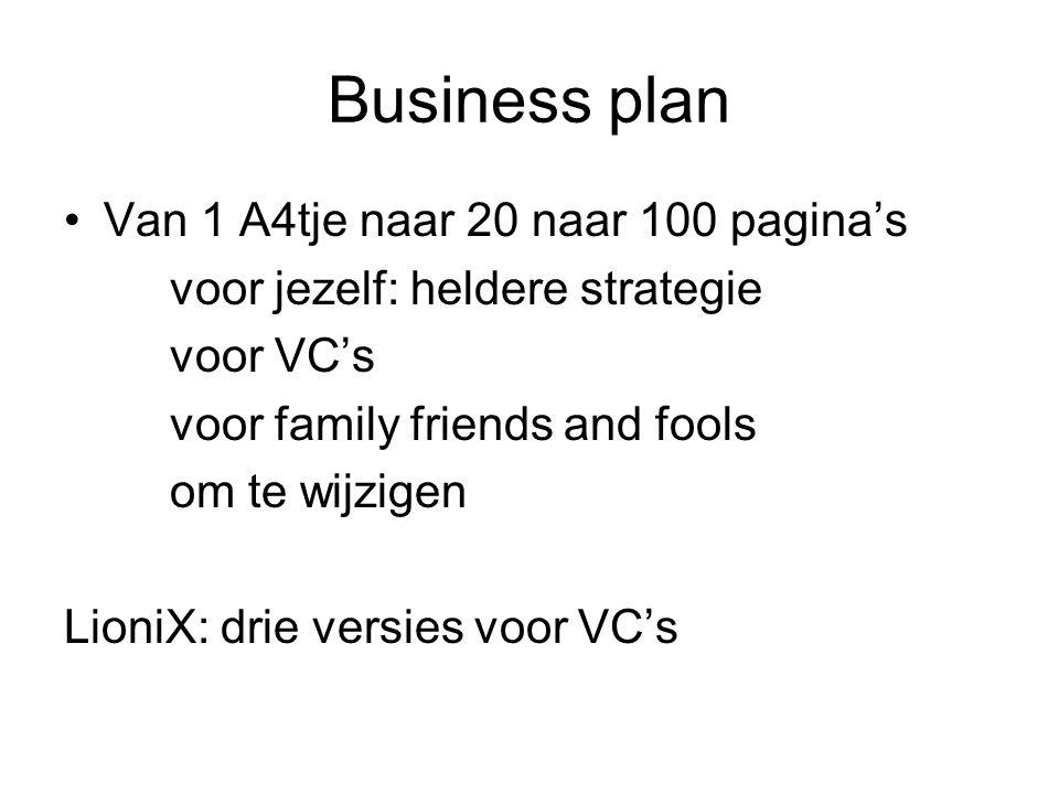 Business plan Van 1 A4tje naar 20 naar 100 pagina's