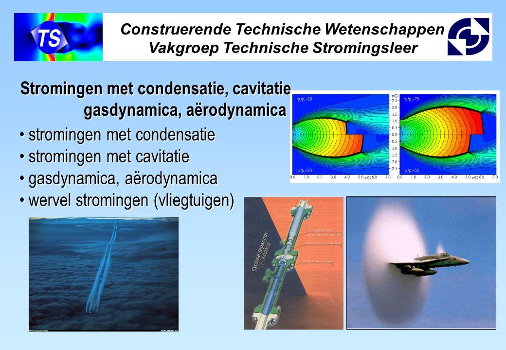 Stromingen met condensatie, cavitatie, gasdynamica, aërodynamica