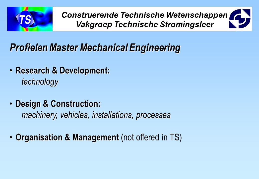 Profielen Master Mechanical Engineering