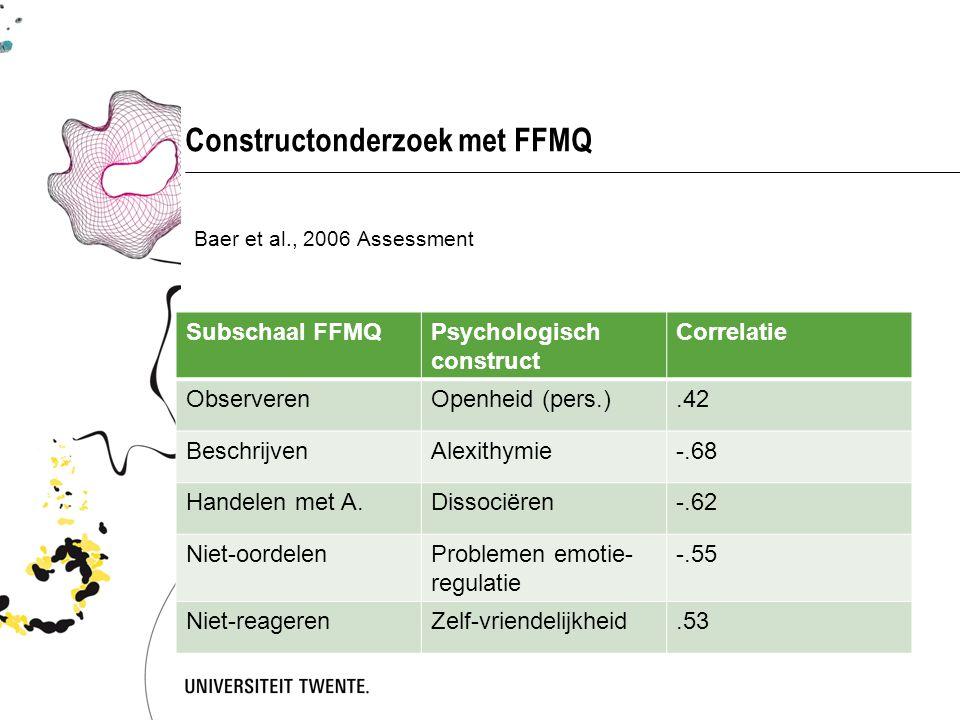 Constructonderzoek met FFMQ
