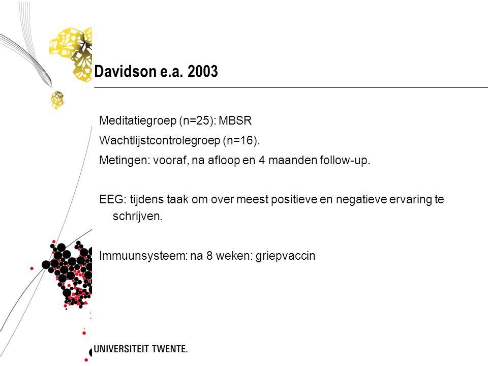 Davidson e.a. 2003 Meditatiegroep (n=25): MBSR