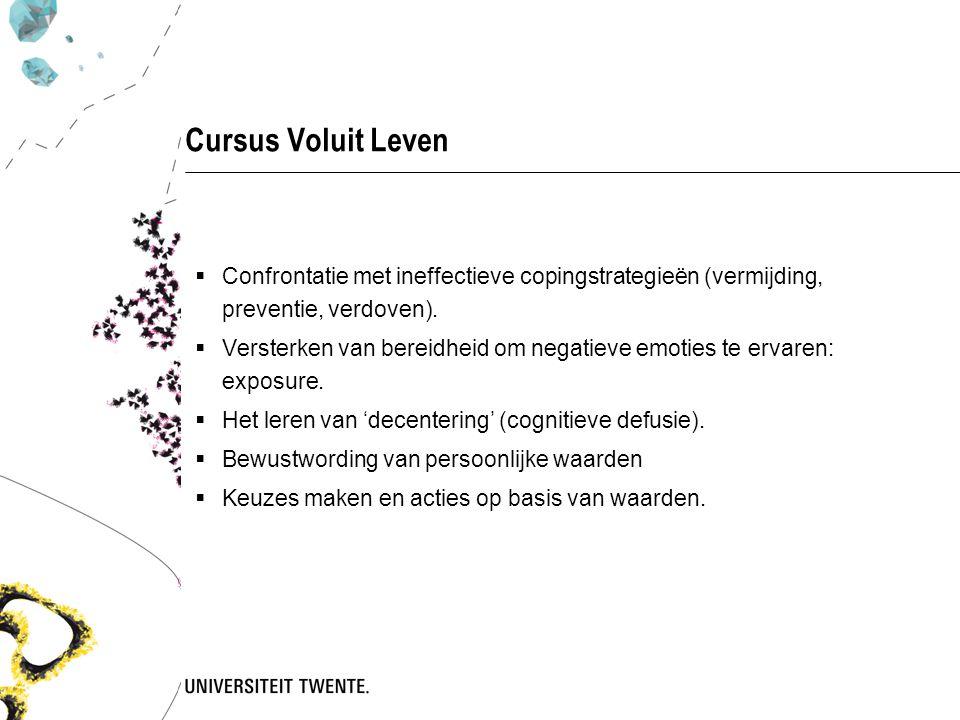 Cursus Voluit Leven Confrontatie met ineffectieve copingstrategieën (vermijding, preventie, verdoven).