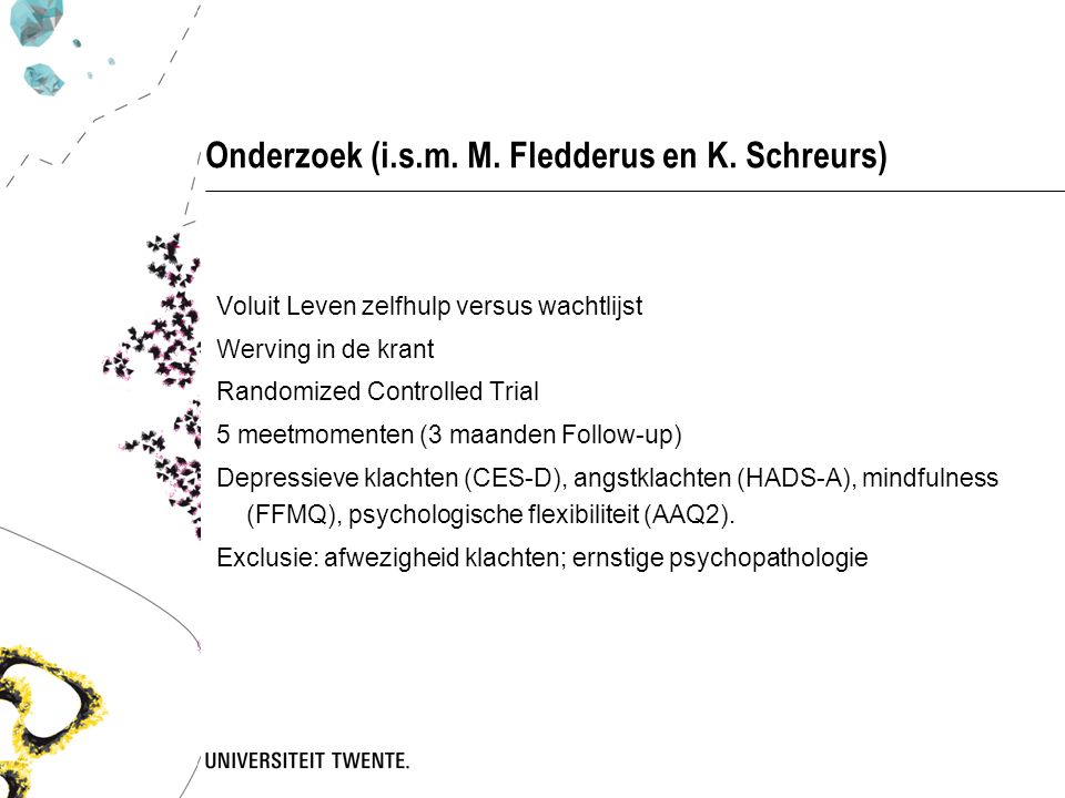 Onderzoek (i.s.m. M. Fledderus en K. Schreurs)
