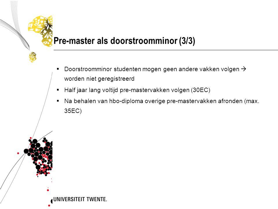 Pre-master als doorstroomminor (3/3)