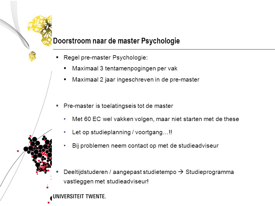 Doorstroom naar de master Psychologie