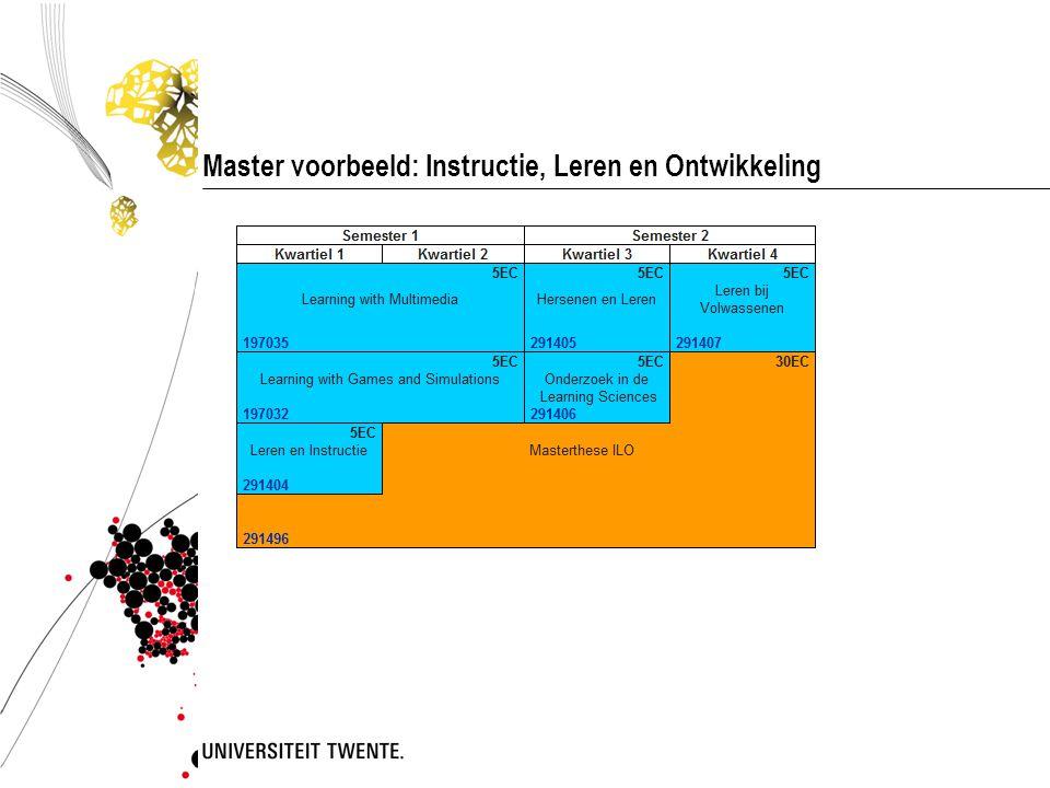 Master voorbeeld: Instructie, Leren en Ontwikkeling