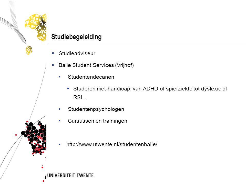 Studiebegeleiding Studieadviseur Balie Student Services (Vrijhof)