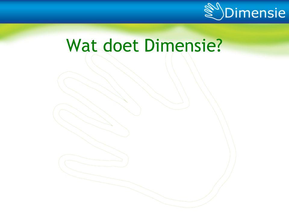 Wat doet Dimensie Wat doen wij, wat kan je bij ons doen, wat voegen wij toe 26