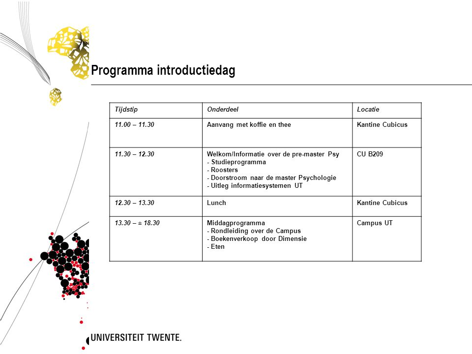 Programma introductiedag