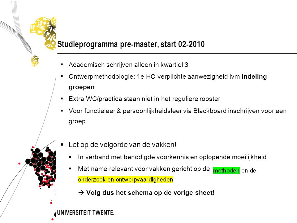 Studieprogramma pre-master, start 02-2010