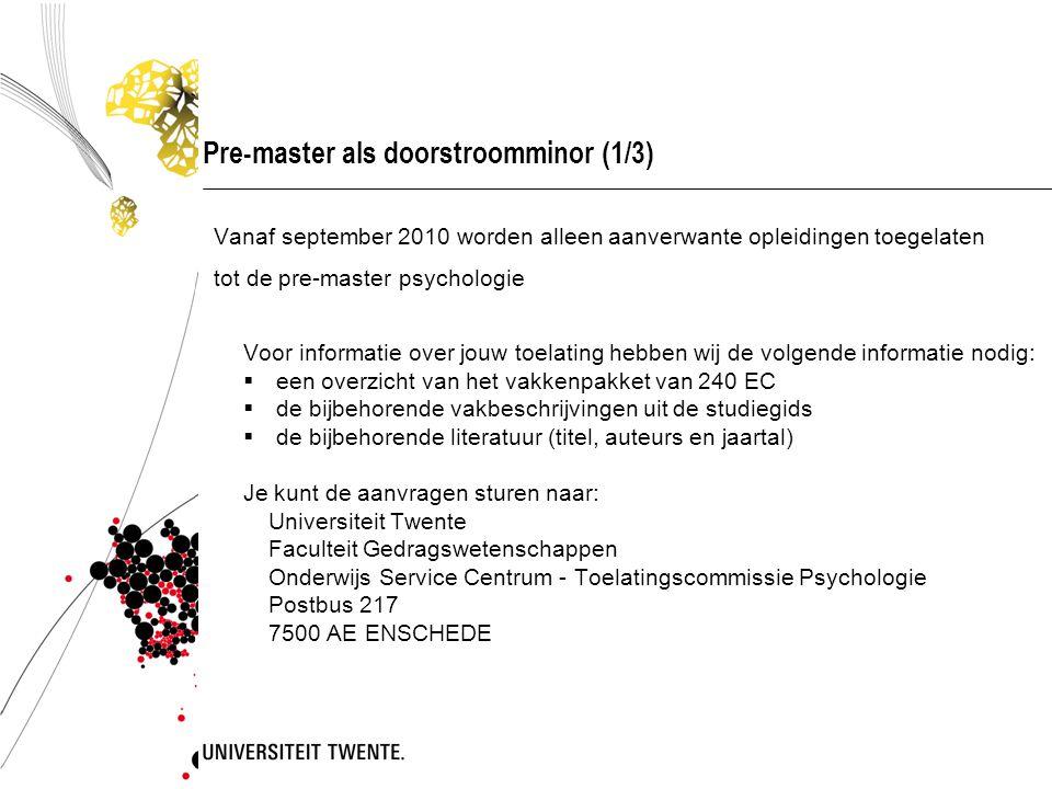 Pre-master als doorstroomminor (1/3)