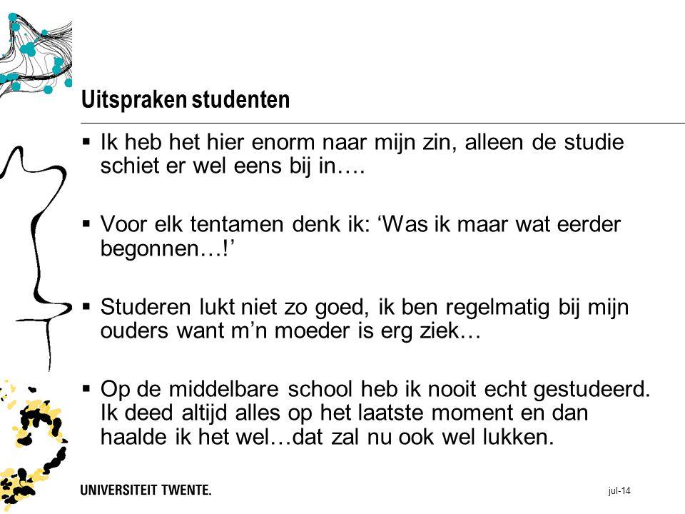 Uitspraken studenten Ik heb het hier enorm naar mijn zin, alleen de studie schiet er wel eens bij in….
