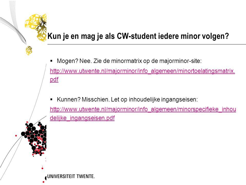 Kun je en mag je als CW-student iedere minor volgen