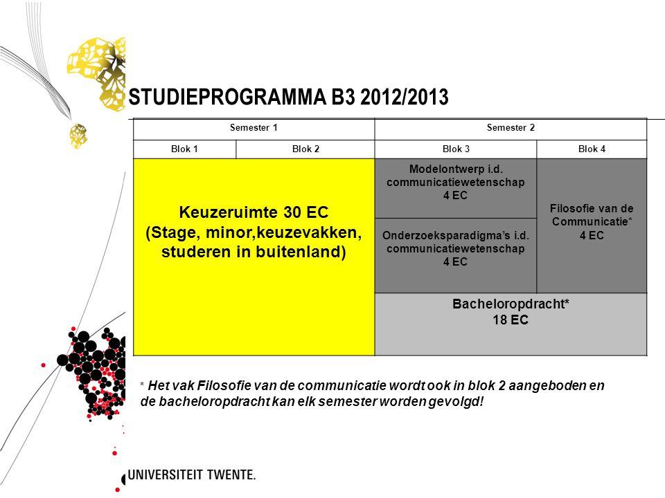 STUDIEPROGRAMMA B3 2012/2013 Keuzeruimte 30 EC