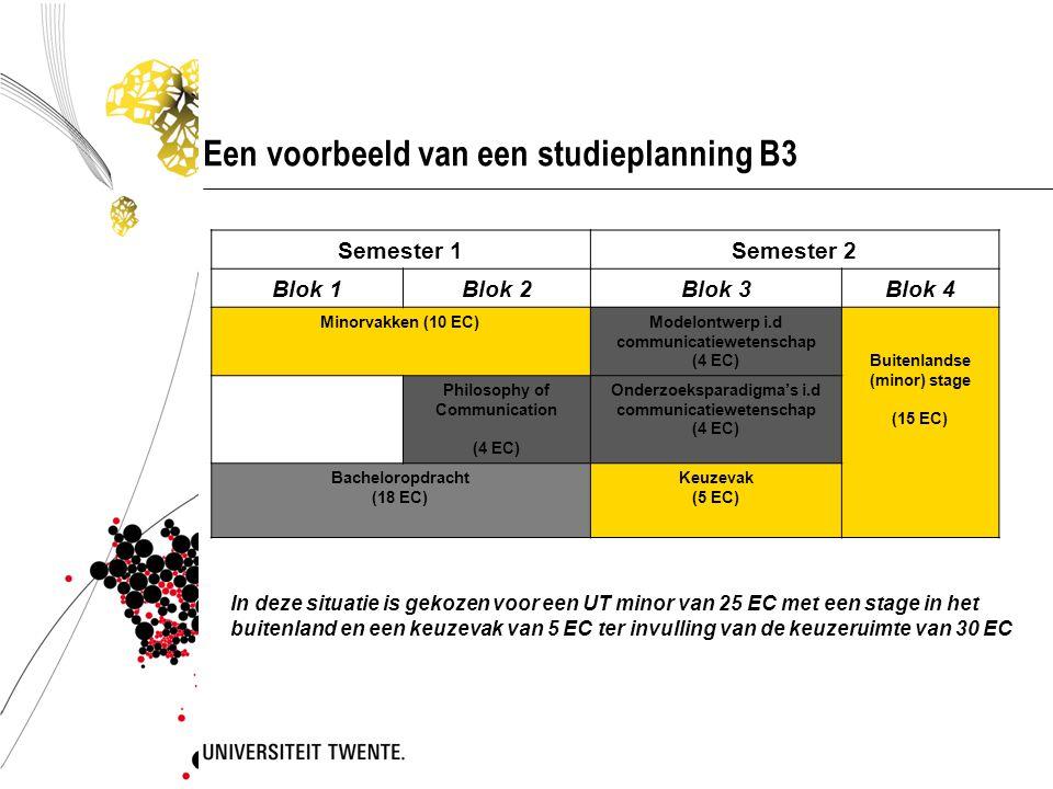 Een voorbeeld van een studieplanning B3
