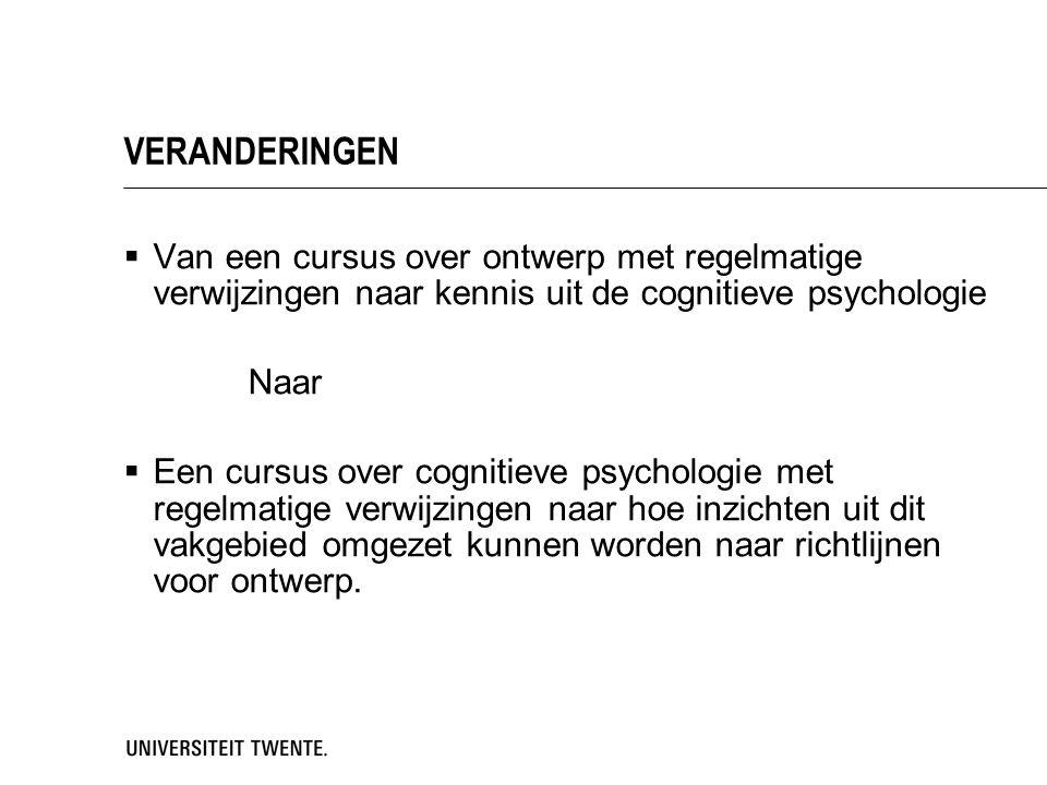 VERANDERINGEN Van een cursus over ontwerp met regelmatige verwijzingen naar kennis uit de cognitieve psychologie.