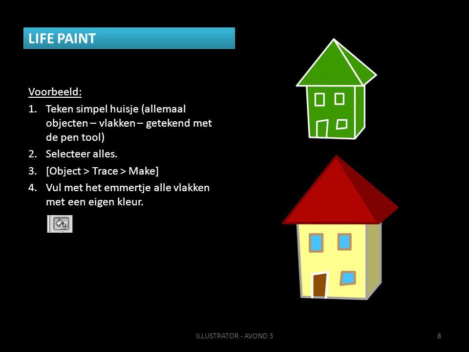 LIFE PAINT Voorbeeld: Teken simpel huisje (allemaal objecten – vlakken – getekend met de pen tool)