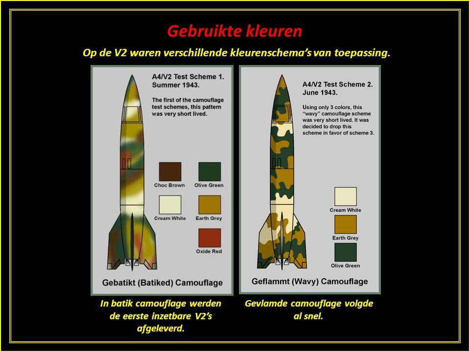 Gebruikte kleuren Op de V2 waren verschillende kleurenschema's van toepassing. In batik camouflage werden de eerste inzetbare V2's afgeleverd.