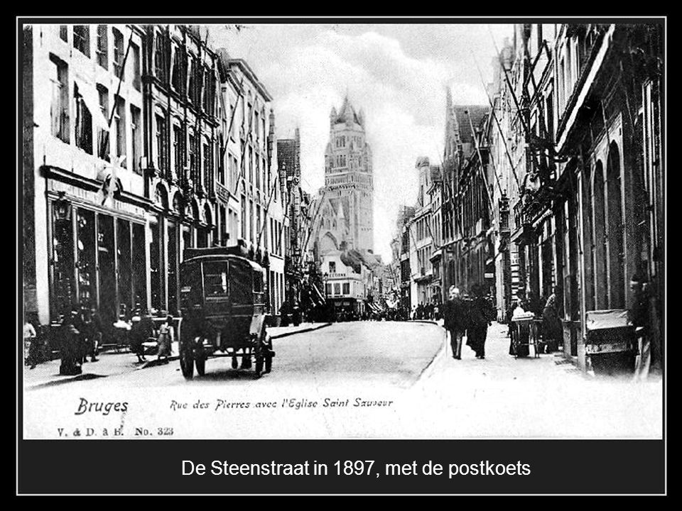 De Steenstraat in 1897, met de postkoets