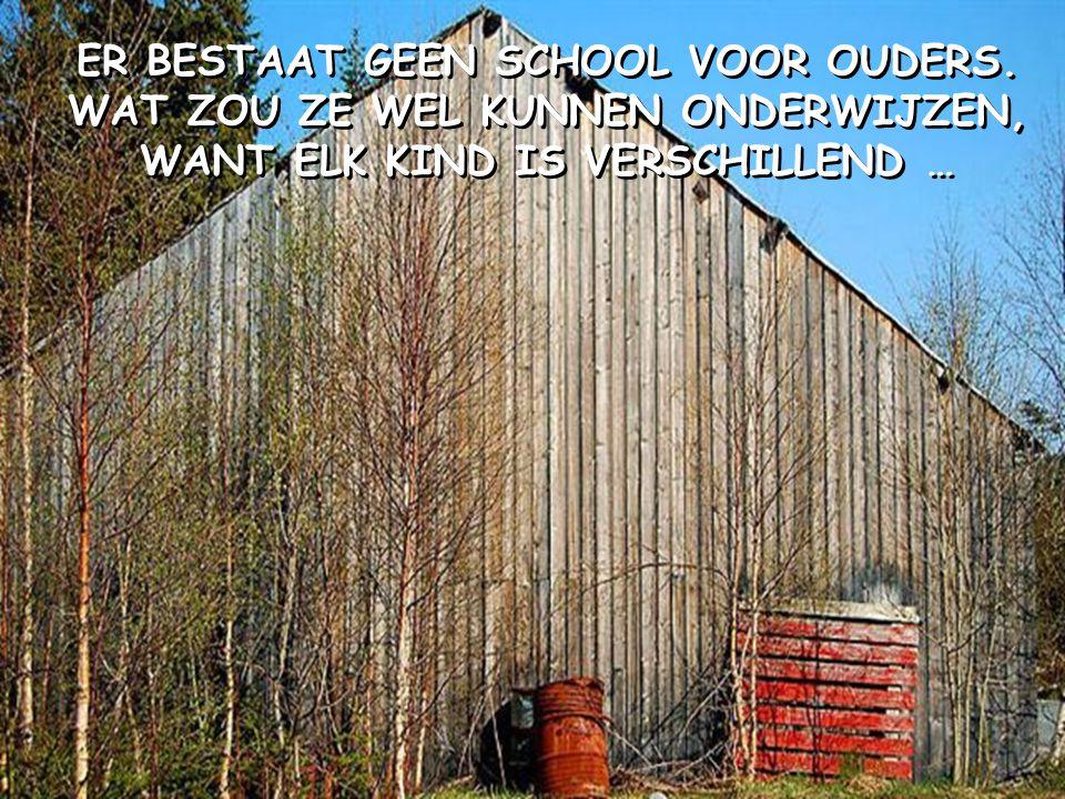 ER BESTAAT GEEN SCHOOL VOOR OUDERS