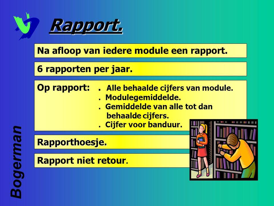 Rapport. Bogerman Na afloop van iedere module een rapport.