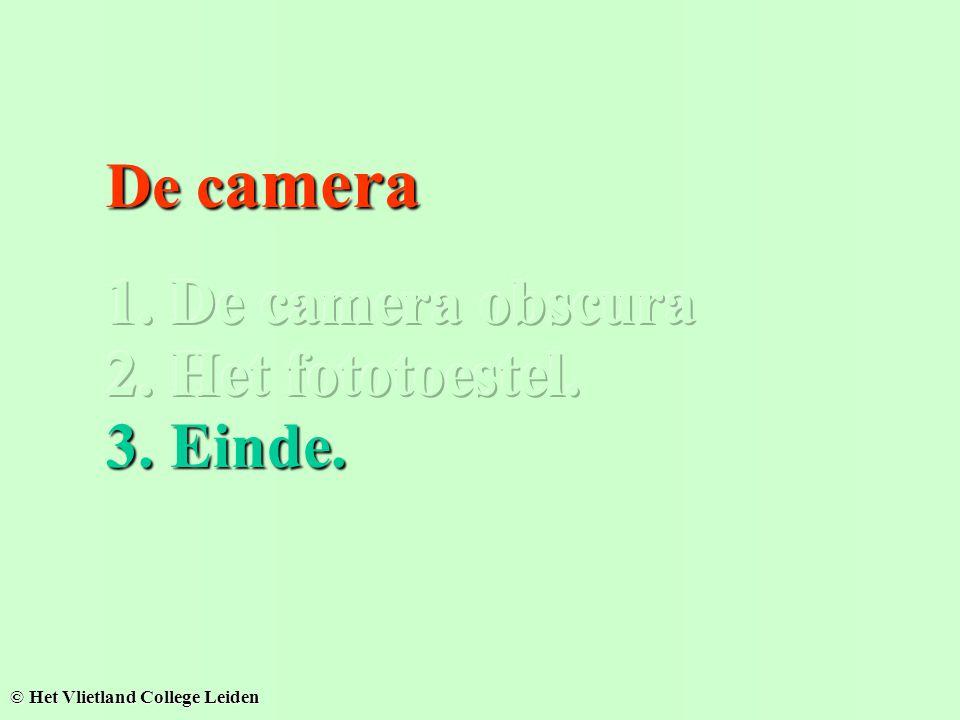 De camera 1. De camera obscura 2. Het fototoestel. 3. Einde.