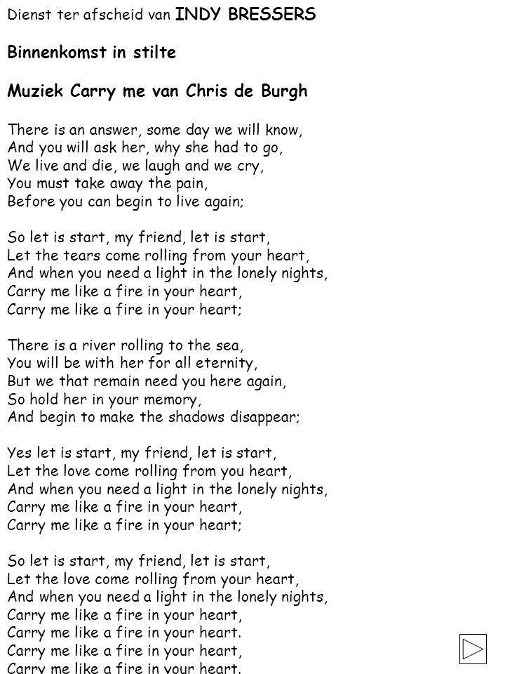 Muziek Carry me van Chris de Burgh