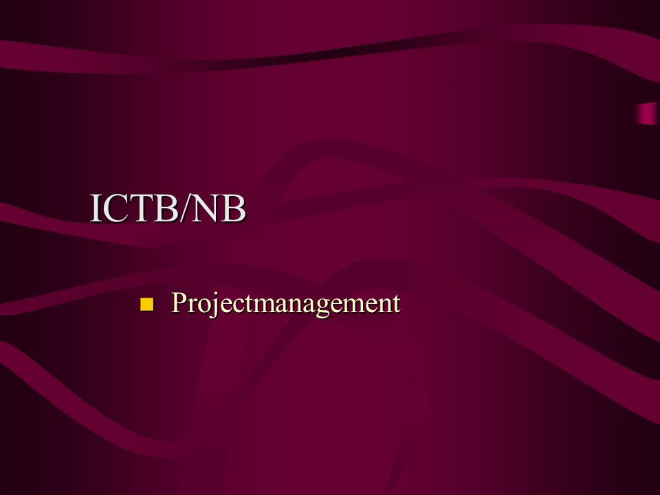 ICTB/NB Projectmanagement
