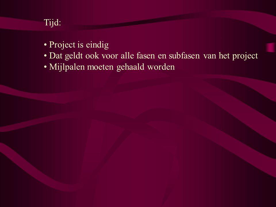 Tijd: Project is eindig. Dat geldt ook voor alle fasen en subfasen van het project.