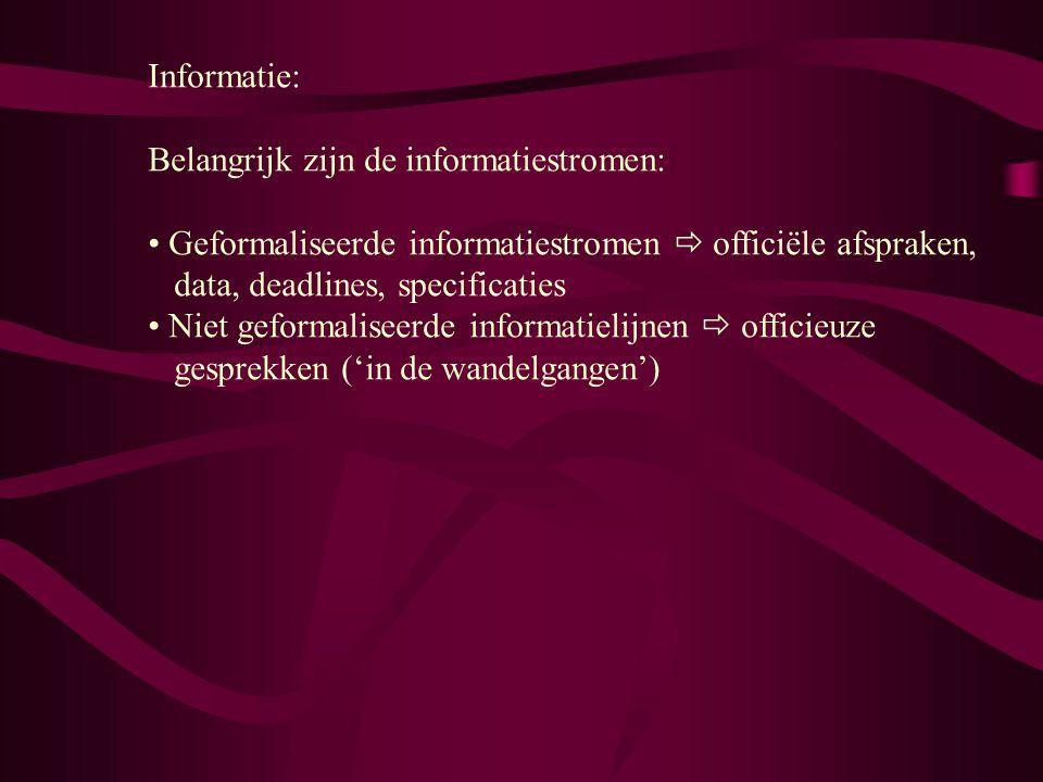 Informatie: Belangrijk zijn de informatiestromen: Geformaliseerde informatiestromen  officiële afspraken, data, deadlines, specificaties.
