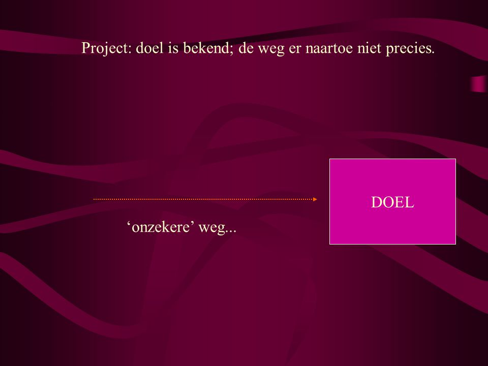 Project: doel is bekend; de weg er naartoe niet precies.