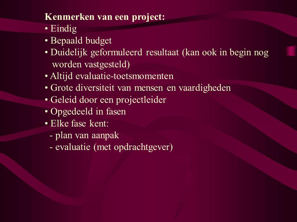 Kenmerken van een project: