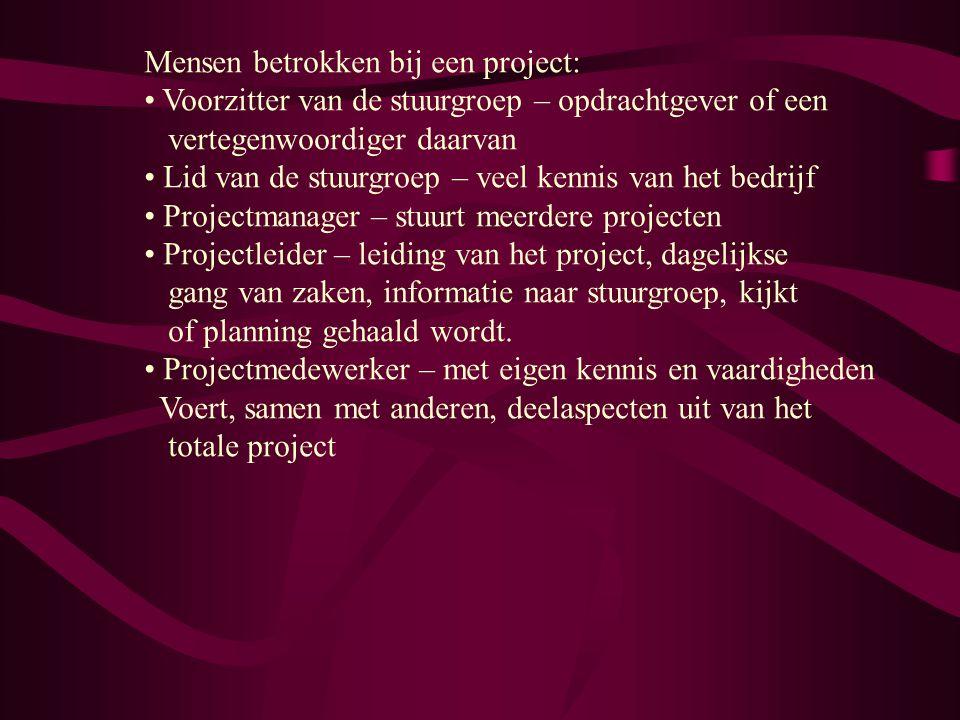 Mensen betrokken bij een project:
