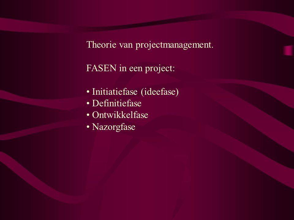 Theorie van projectmanagement.