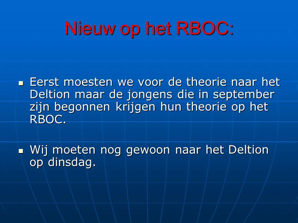 Nieuw op het RBOC: Eerst moesten we voor de theorie naar het Deltion maar de jongens die in september zijn begonnen krijgen hun theorie op het RBOC.