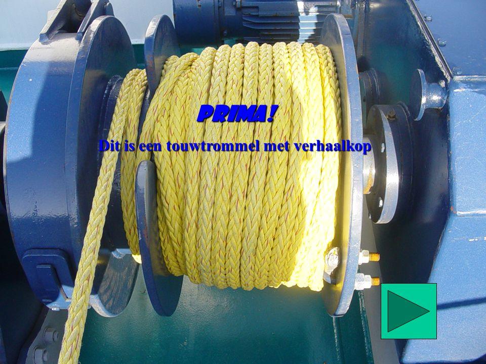 Dit is een touwtrommel met verhaalkop