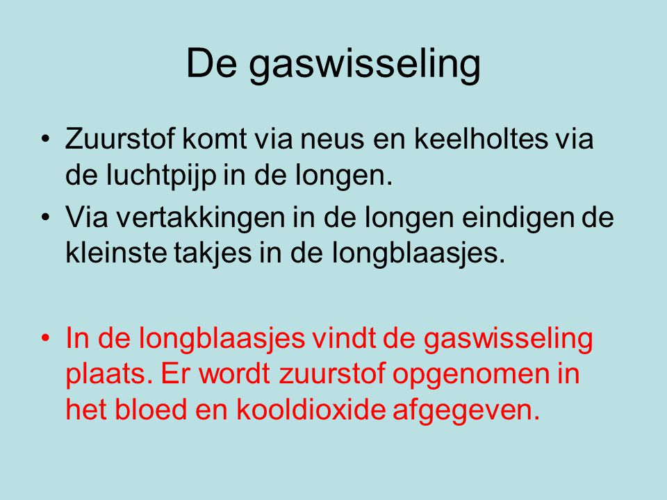 De gaswisseling Zuurstof komt via neus en keelholtes via de luchtpijp in de longen.