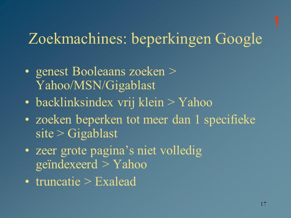 Zoekmachines: beperkingen Google