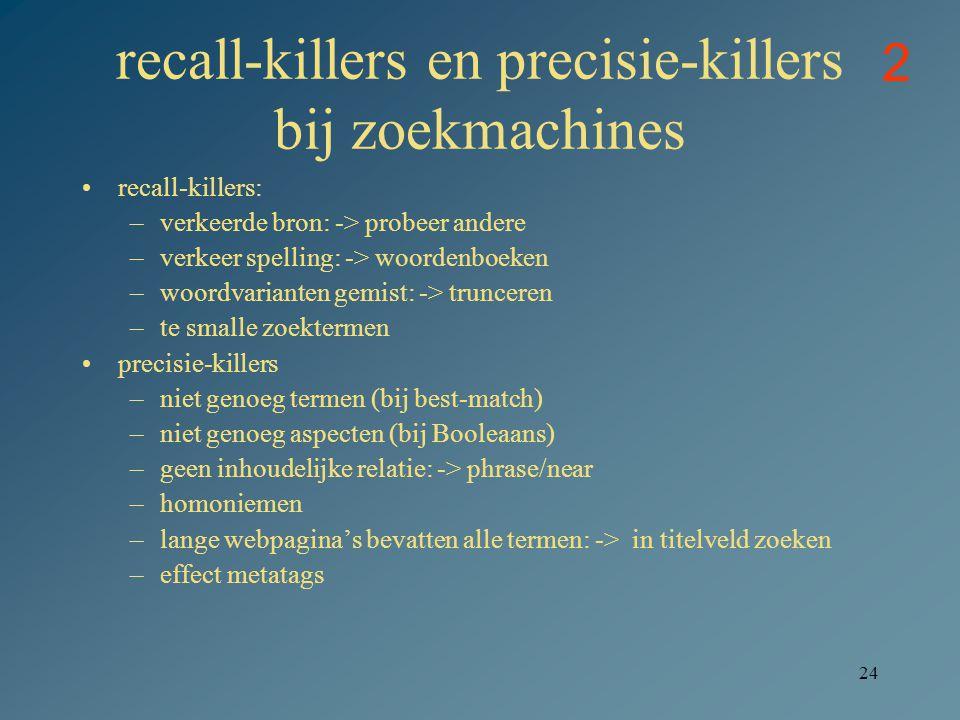 recall-killers en precisie-killers bij zoekmachines