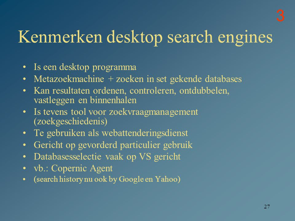 Kenmerken desktop search engines